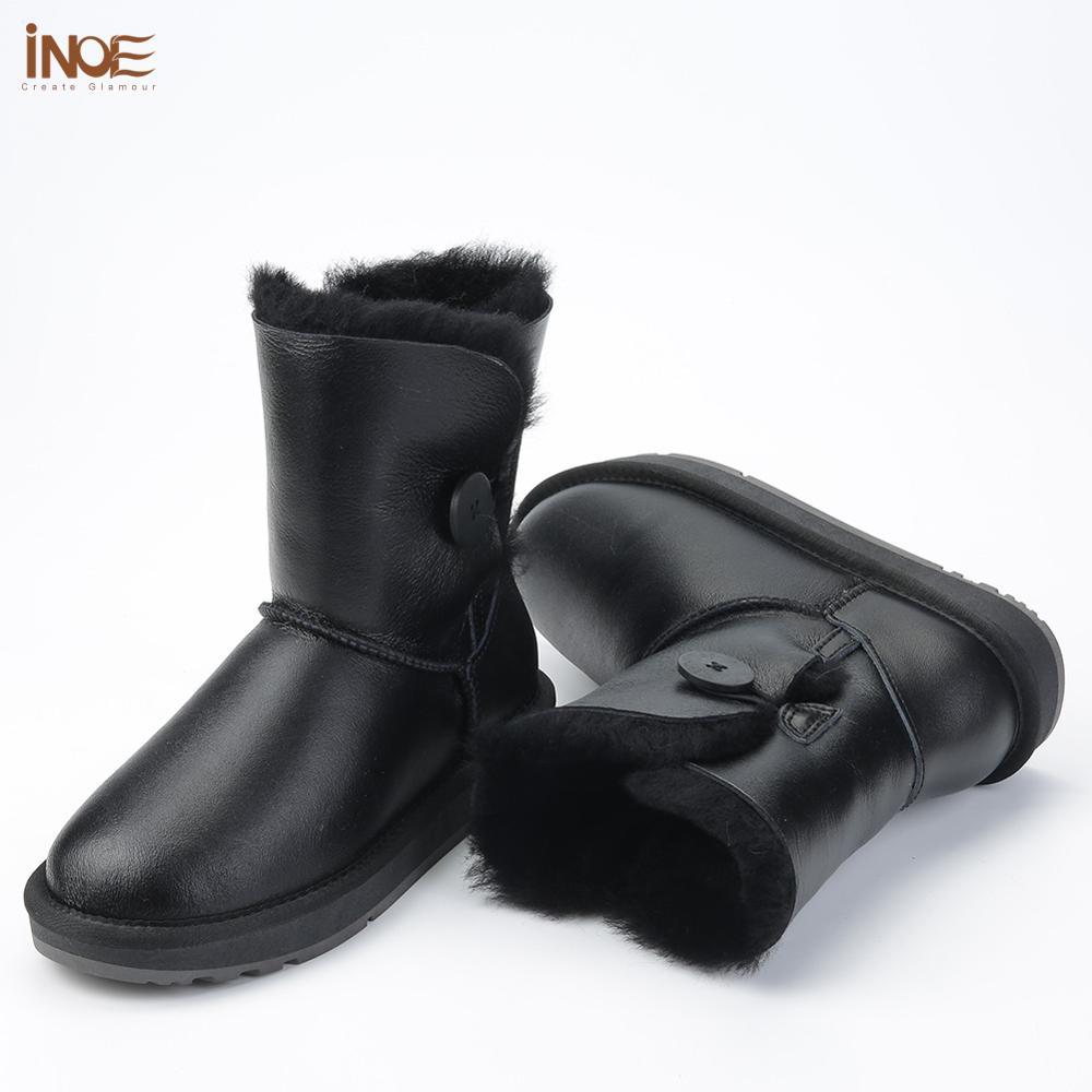INOE mi mollet imperméable femmes bottes d'hiver avec bouton en peau de mouton en cuir peau de mouton laine fourrure doublée bottes de neige garder au chaud chaussures - 4