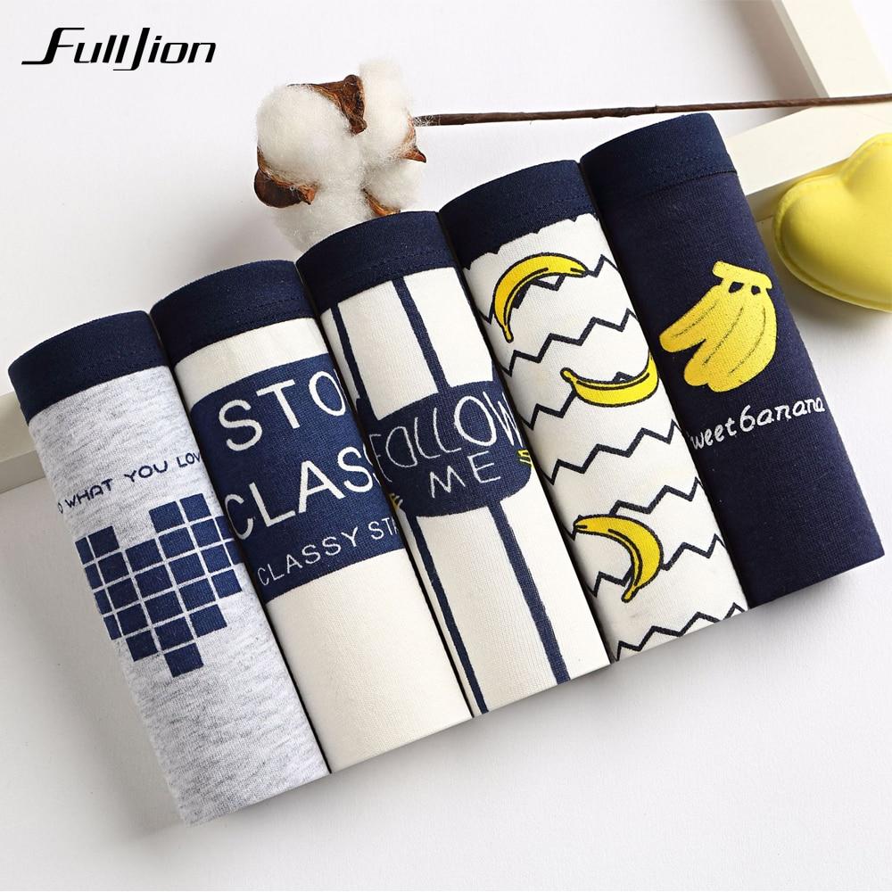 Fulljion 5pcs/lot Fruit Banana Women's Panties Cute Cartoon printed Cotton Underwear Women Briefs Striped Tanga Sexy Lingerie