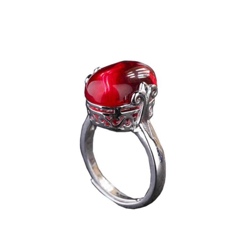 Bohemian คอรันดัมสีแดงเปิดแหวน S925 sliver หยกเพชร Obsidian แหวนพลอยสำหรับหญิง Elegant Anillos เครื่องประดับ peridot