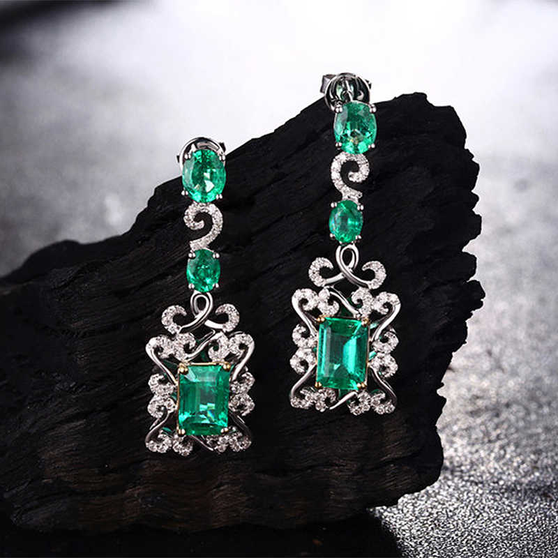 Caimao 14K Multi-Tone Gold 3.68CT Natural Emerald and Diamonds Engagment Dangle Earrings for Women