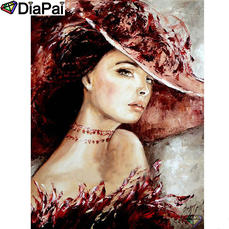 "DIAPAI 5D DIY Diamond Painting 100% Full Square/Round Drill ""Beauty character"" Diamond Embroidery Cross Stitch 3D Decor A22801(China)"
