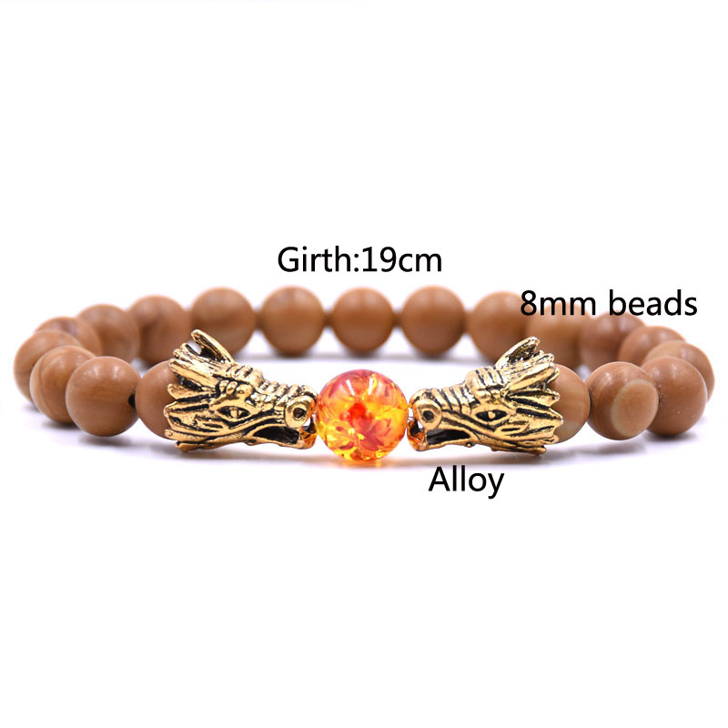 HYHONEY 8MM Natural Stone Beads Bracelet For Men bileklik Men Jewelry Dragon pulseras 25