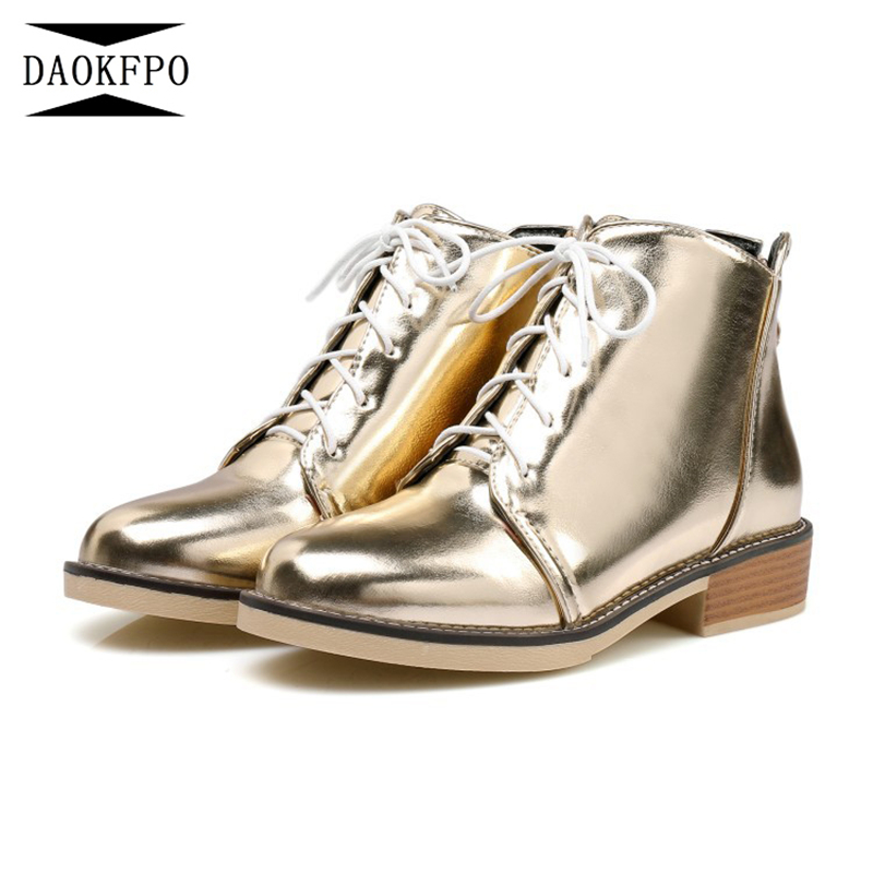 DAOKFPO Autumn Low Heel Luxury Brand Boot Women Vintage Metallic Booties Round Toe Short Ankle Lace Up Genuine Silver NVA-001 front lace up casual ankle boots autumn vintage brown new booties flat genuine leather suede shoes round toe fall female fashion