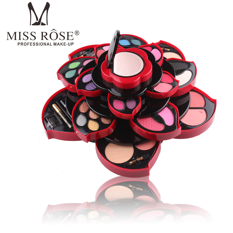 Miss Rose Flower Eye Shadow Palette Big Size Plum Blossom Rotating Set Beauty Eyeshadow Box Cosmetic Case Makeup Kit miss rose 2017 new fashion plum blossom multi function eye shadow plate natural sexy makeup series 40 15cm makeup box