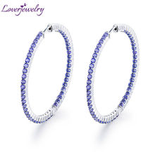 New Arrival Solid 14KT/585 White Gold Natural Tanzanite Wedding Earring Promised Fine Jewelry for Wife Gemstone Gift