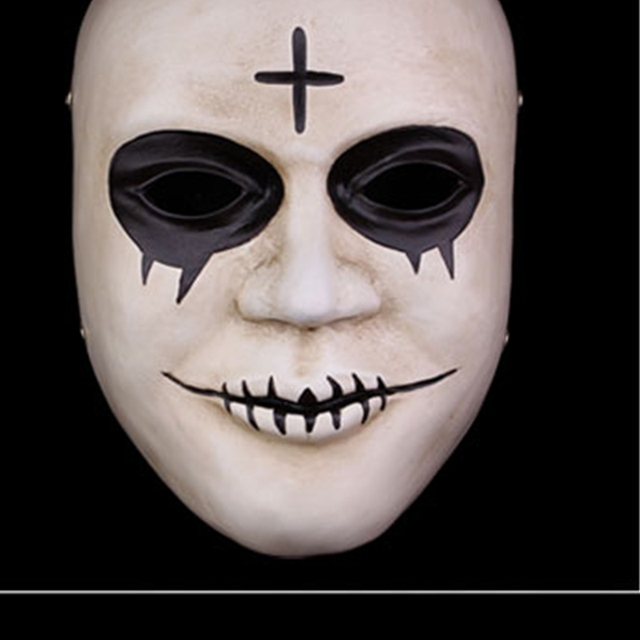 Horror Clown Cross Resin Masks Full Face Halloween Masquerade Costume Cosplay Props The Purge Mask With Box Adult Size 1
