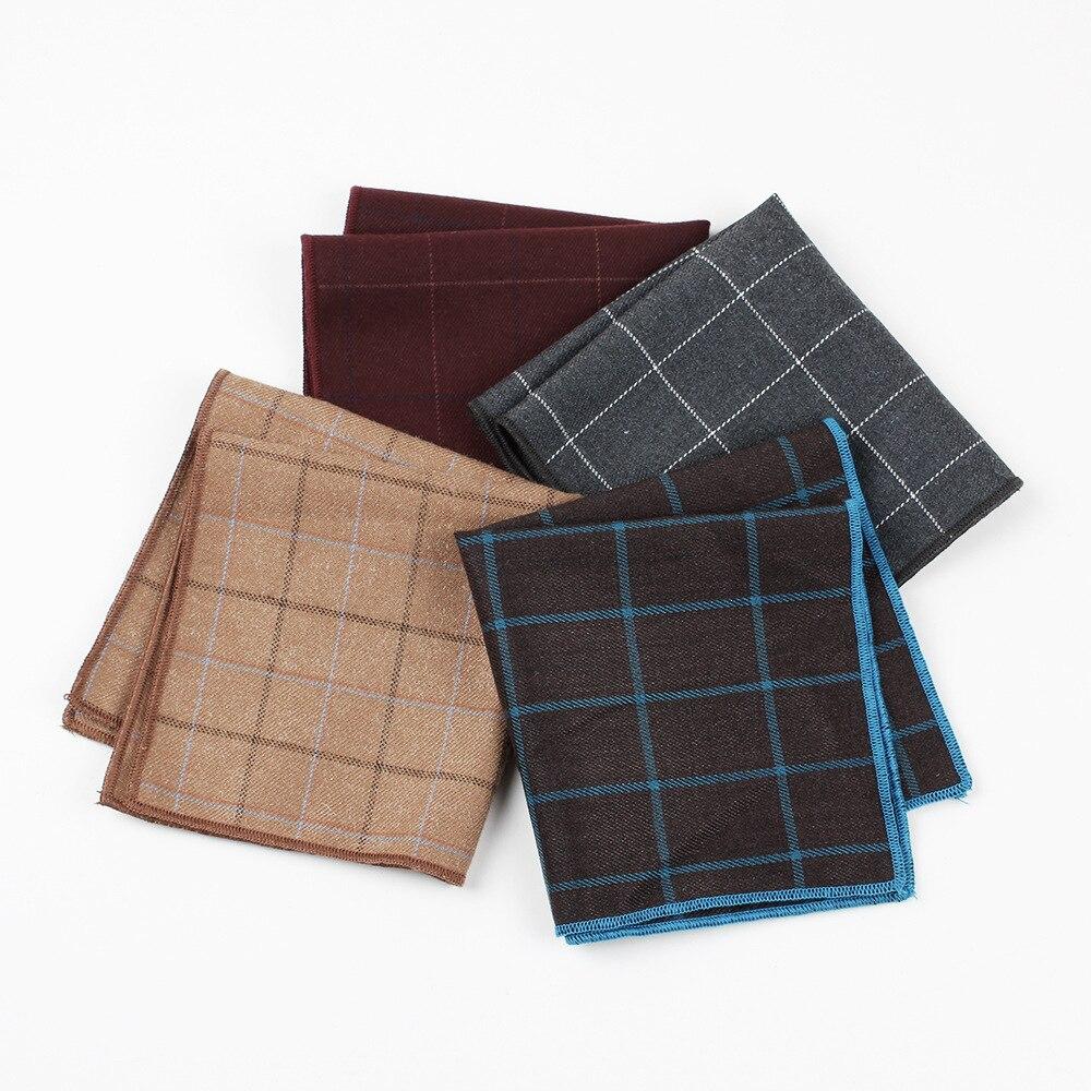 High Quality Men's Hankerchief Scarves Plaid Business Suit Hankies Cotton Casual Men Suits Pocket Square Handkerchiefs 25*25cm