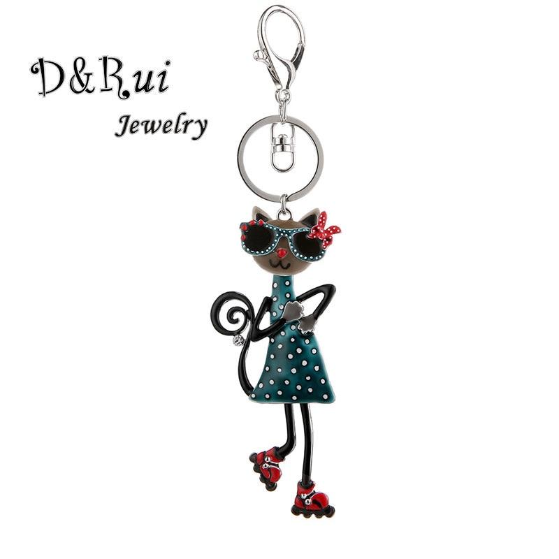 Cute Cat Keychain & Pendant Women Key Ring Holder Key Chains For Handbag And Car Handmade Animal Rings Keychains Girl Gift 2019