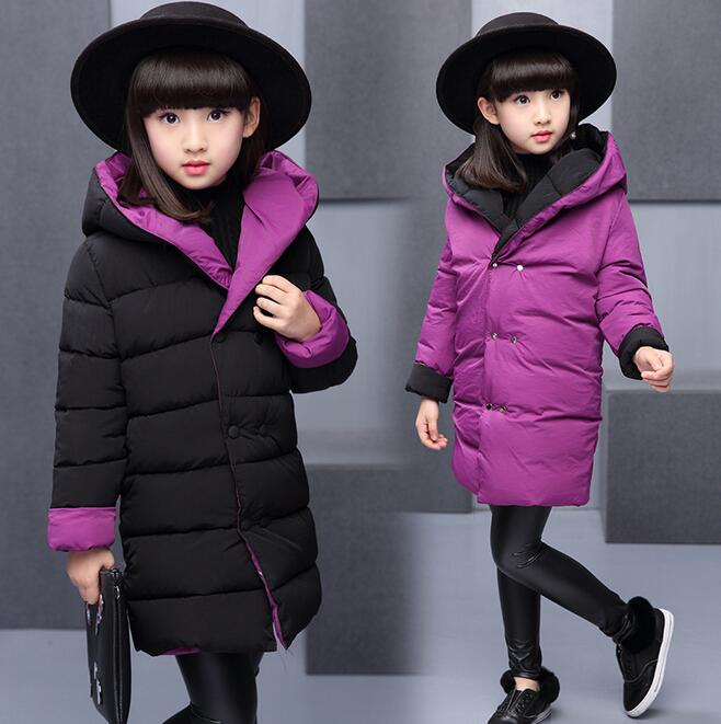 Both Sides Wear Girls Jackets Coats Solid Hooded Thick Warm Doblue Breasted Parka Down Kids Clothes Cotton Children's Outwear цена