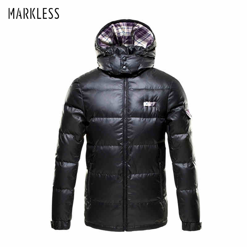 Markless 2018 Mens Thick Down Jackets Brand Clothing Mens Casual Spliced Hooded Man Down Coats Male Fashion Winter Outerwear