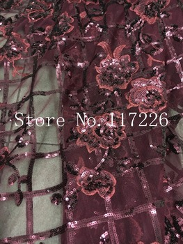 Unique paillette fabric/mesh sequins fabrics JRB-52703 french net lace fabric for women garment wedding dress in wine color