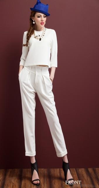 Envío gratis 2016 nueva moda casual mujeres traje blanco Delgado temperamento OL ocupación de cuello Blanco Traje de Chaqueta Pantalón trajes