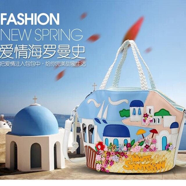 2017 Rushed Unisex Polyester Three Casual Soft Amy Lynn A New Handbag Bag Aegean Sea Romantic Flower Mosaic Cross Hand Woven
