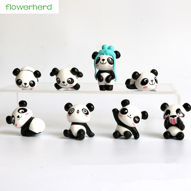 8pcs/lot 2-4cm Cut Panda Moss Micro Landscape Cake Decorating Accessories New Year Gift For Kids Decoration for Home