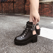 Купить с кэшбэком GBHHYNLH autumn Boots fall shoes Platform High Heel Boots Ladies Ankle Boots Punk Rock Motorcycle Boots Platform Shoes LJA774