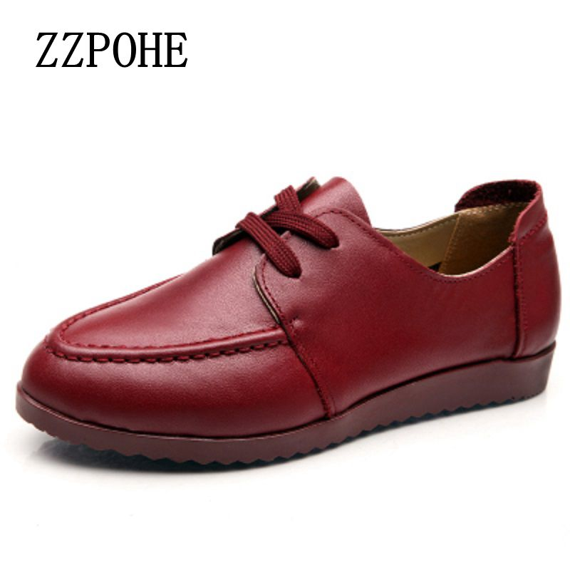 ZZPOHE Autumn new lace leather mother shoes women soft-comfortable middle-aged black slip shoes large size ladies flat shoes 60w style loft industrial vintage wall lamp fixtures home lighting edison wall sconce arandela lamparas de pared