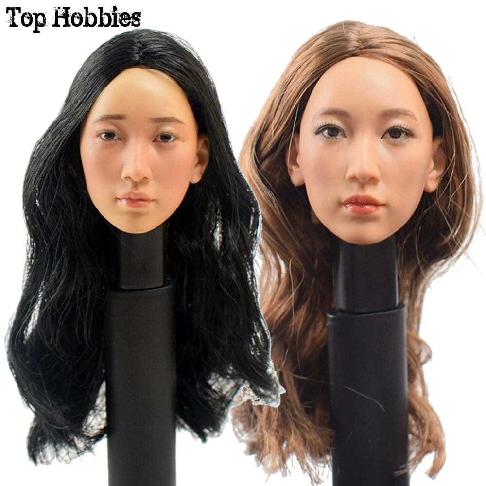 1/6 Scale KUMIK KM16-27 Female Head Sculpt Caving A light Makeup B Maroon Hair Makeup Fit 12'' Action Figure Body Accessory Doll все цены