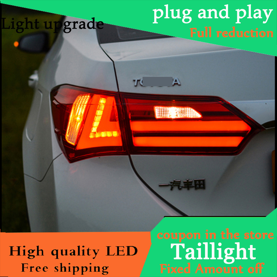 Car Styling Tail Lights For Toyota Corolla 2014 2016 Taillights LED Tail Light Rear Lamp DRL