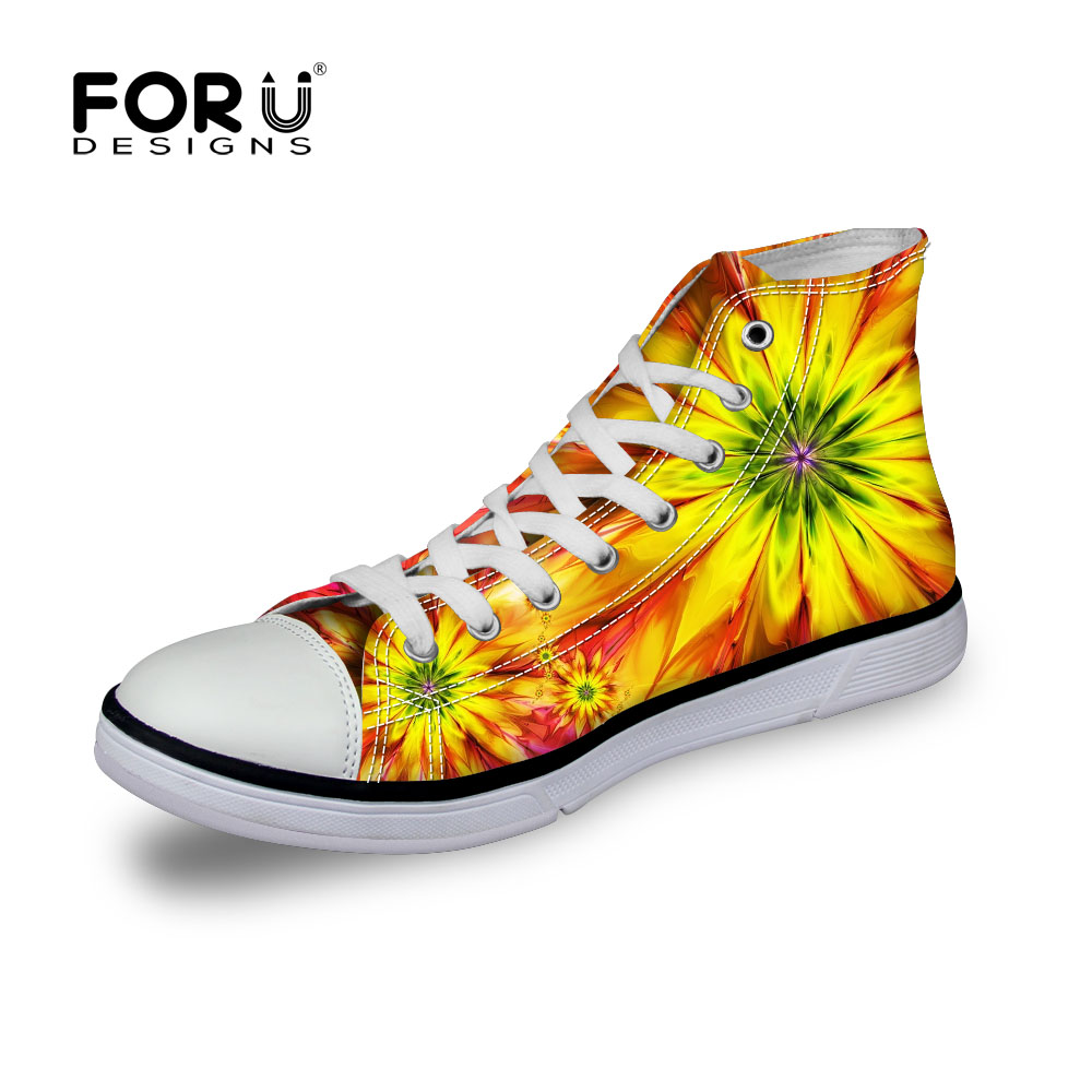 ФОТО FORUDESIGNS Men's High-top Canvas Shoes Sunflower Yellow Breathable Hombre Zapatillas Casual Fashion Florals Neaker For Adults