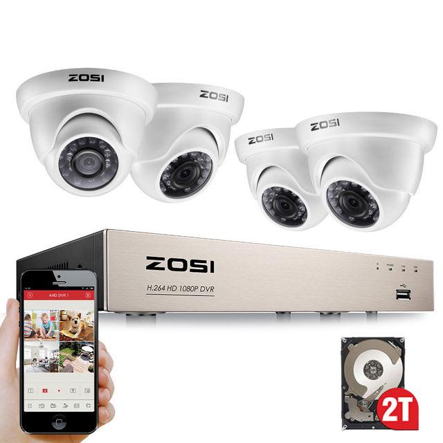 Камера видеонаблюдения ZOSI, купольная камера безопасности, 8 каналов, FULL TRUE 1080P, DVR, HDMI, с 4X, 1980TVL