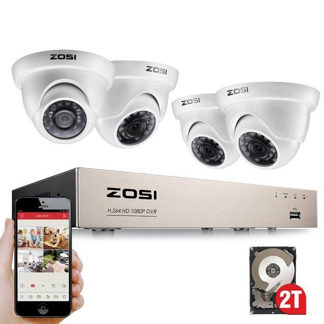 Zosi 8CH フル真 1080 1080p HD TVI dvr レコーダー hdmi 4X 1980TVL 屋内屋外監視セキュリティドームカメラシステム