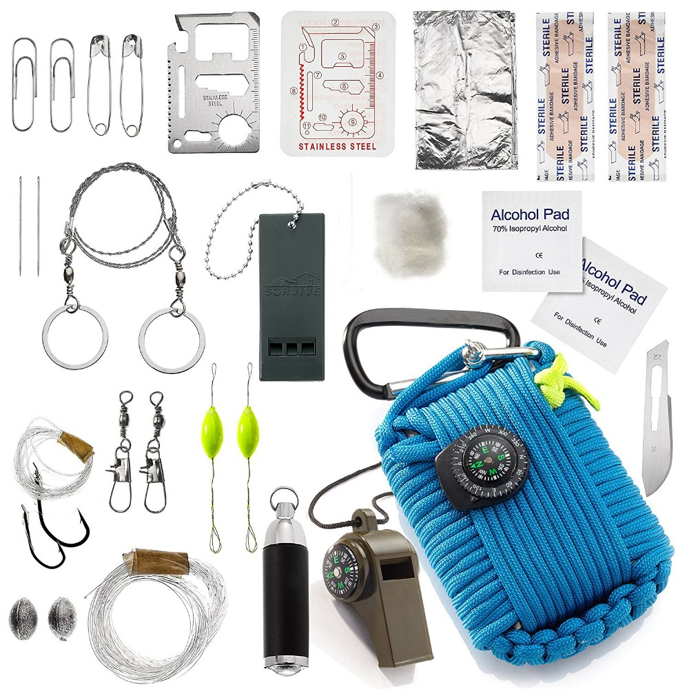 Outdoor Survival Equipment SOS Kit Paracord First Aid Box Supplies Field Self-help Box For Camping Travel Fishing Kit
