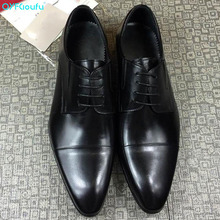 QYFCIOUFU British Style Genuine Leather Formal Shoes Pointed Toe Mens Dress Shoes Breathable Lace-up Men Party And Wedding Shoes