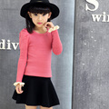 Korean Children's Wear Spring and Autumn New Sweater Knitting Kids Clothing Wool Round and High Collar Black Red Rose Red