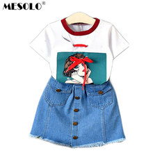 222612f1e0b93 MESOLO Çocuk yaz yeni kız moda batı tarzı denim etekler güzel kısa kollu T- Shirt