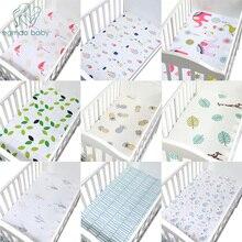 Хлопок, простыня для кроватки, мягкий матрас для детской кровати, защитный чехол и эластичная простыня, мультяшное постельное белье для новорожденных