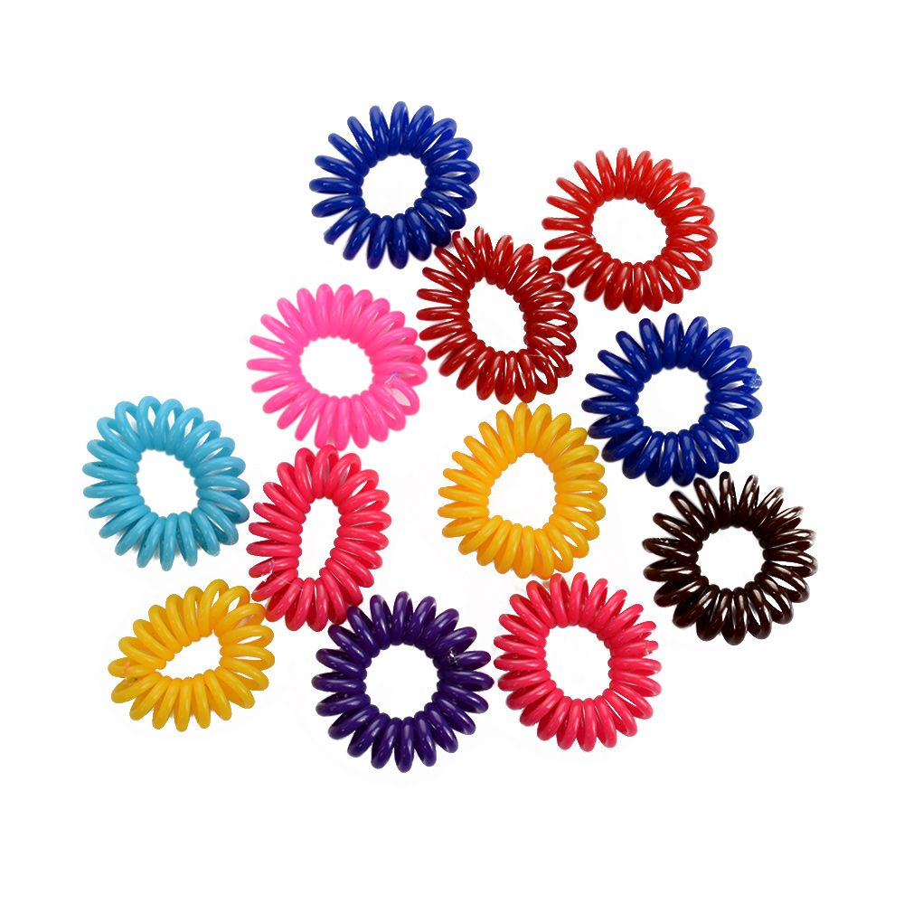 12pcs Colorful Elastic Rubber Hair Ties Band Rope Ponytail Holder Hair Ropes For Hair Styling Tool Accessories Hair Braiders