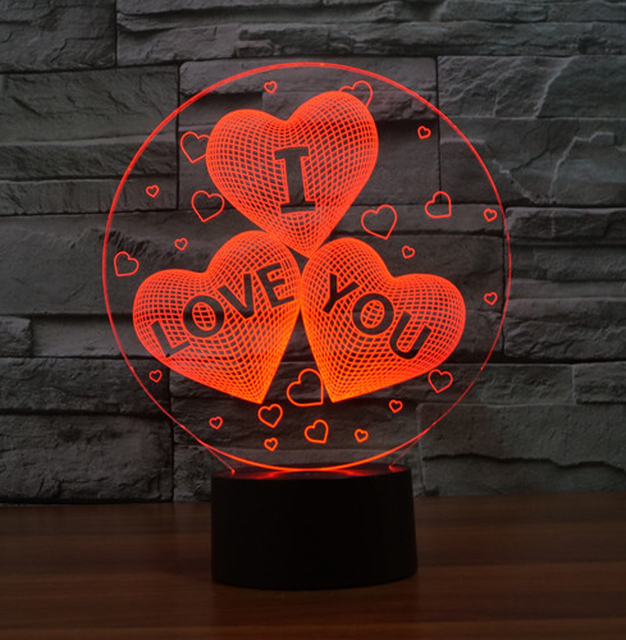 illusion i love you for valentines day gift 3d led night lights 7 light colors table