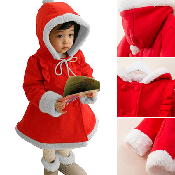 2 7Y Baby Girls Xmas Fleece Hoodie Coat Snowsuit Winter Warm Jacket Outwear