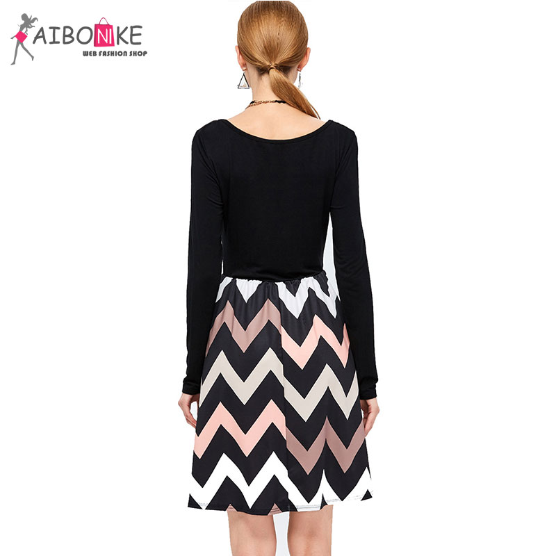 ab626914eb Aibonike Retro Black And White Striped Dress Women Vestidos Black Skater  Dress Long Sleeve For Women Patchwork Ball Gown Cotton on Aliexpress.com