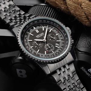 Image 3 - MEGIR fashion mens quartz wristwatch  mens luxurious business waterproof watch 2008 free shipping