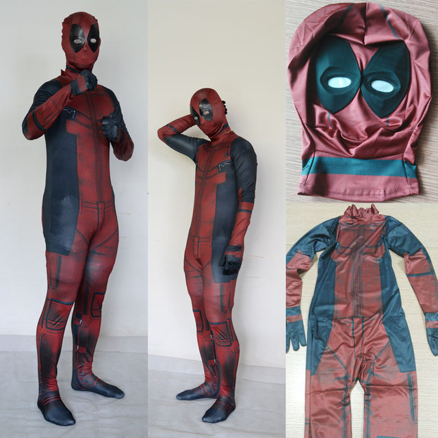 Deadpool cosplay costume halloween costume for Men Superhero fullbody men adult spandex halloween mask onesie cosplay Deadpool