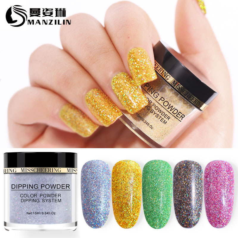 MANZILIN 10g/Bottle Shinning Glitter Dipping Powder Nail Decoration Dust NHDPL