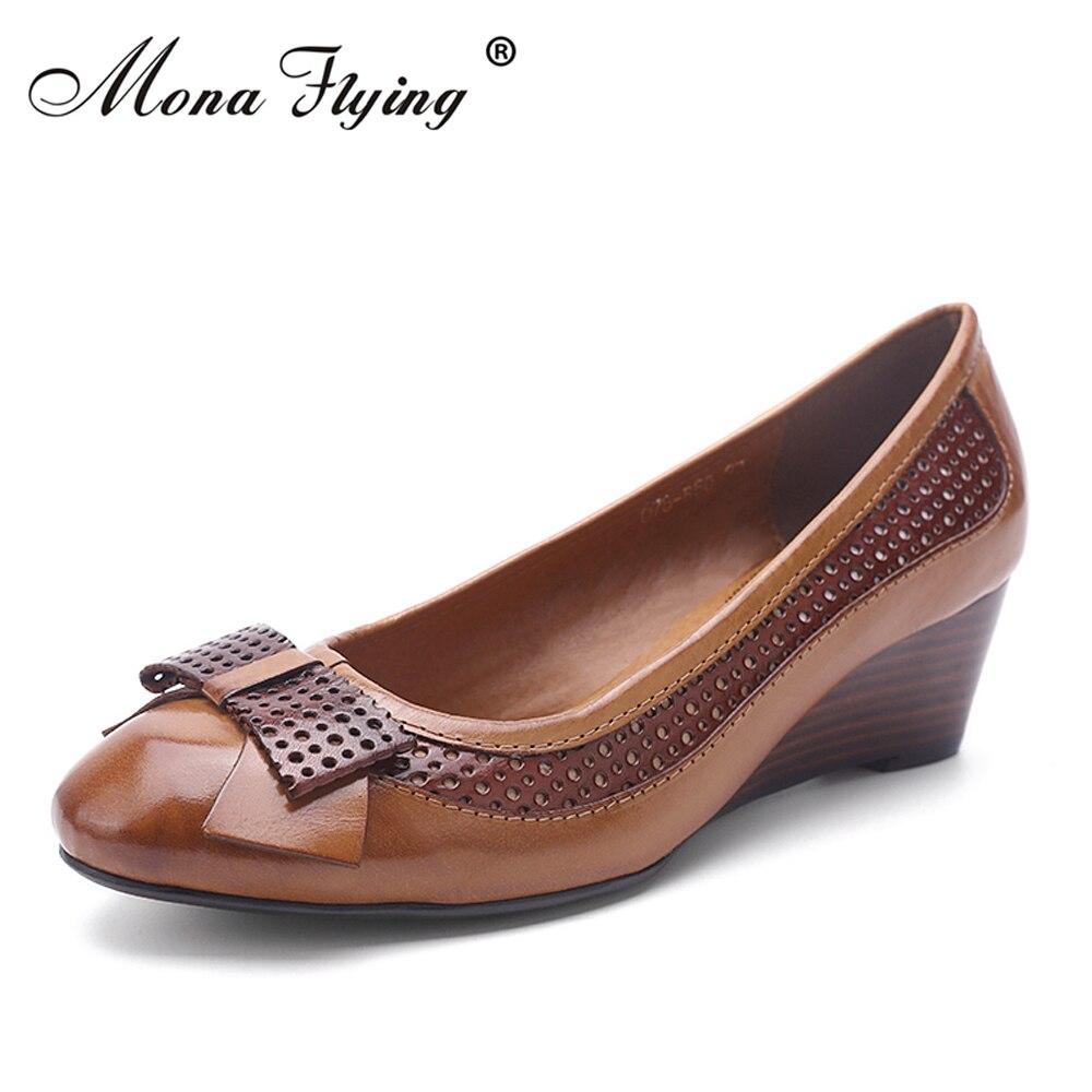 42bb1fd972 Mulheres sapatos de couro genuíno das mulheres bombeia as sapatas de  vestido para as mulheres do escritório das senhoras Cunhas sapatos de couro  puro 078- ...