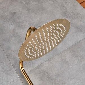 Image 2 - ברזי אמבטיה יוקרה זהב פליז אמבטיה ברז מיקסר ברז קיר רכוב מקלחת ראש אמבטיה זרבובית מקלחת ברז סטים