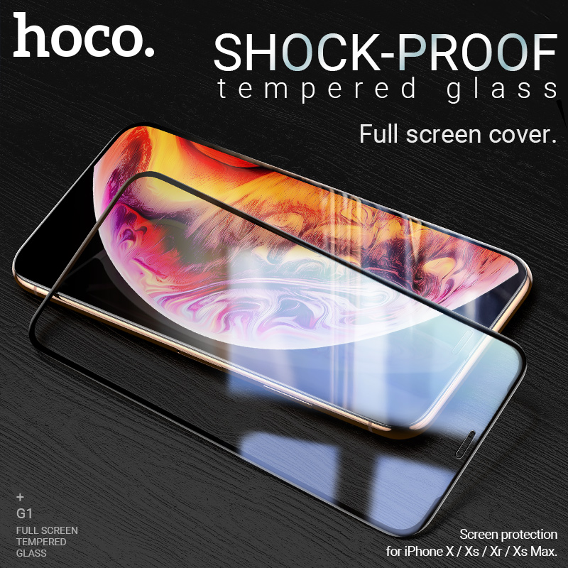 hoco screen protector for iPhone X Xr Xs Max tempered glass phone full screen protection glass 2.5D edges antishock anti scratch