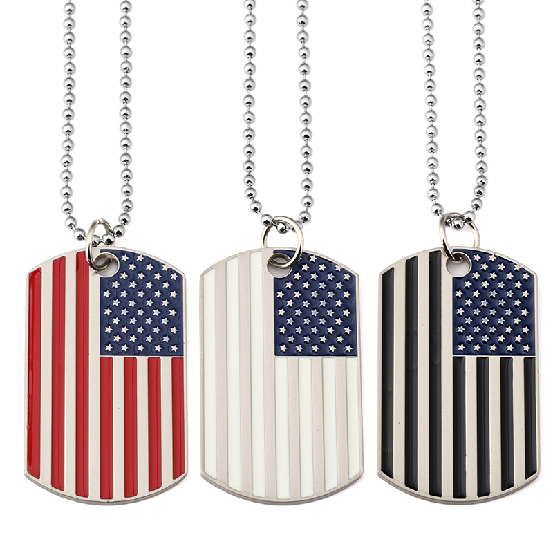FUNIQUE Trendy Flag Of The United States Soldier Dog Tag Necklace For USA Patriots Party Hip Hop Rock Chunky Statement Necklaces ...