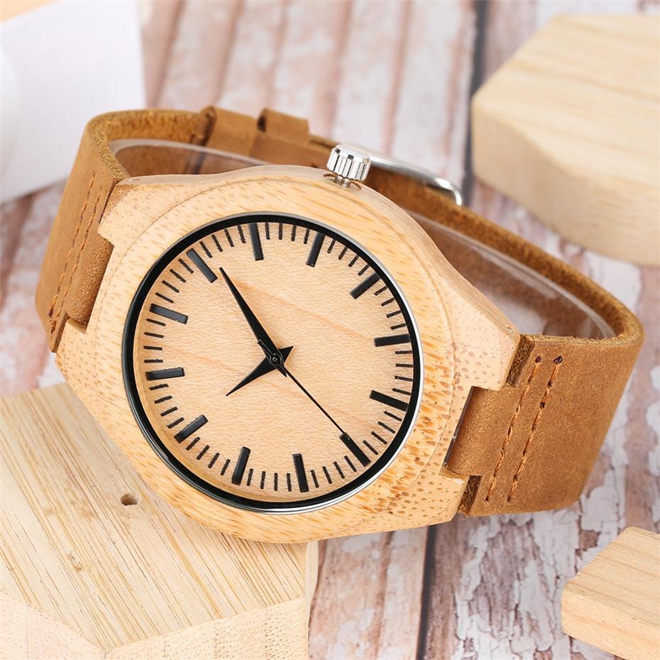 YISUYA Nature Wood Bamboo Watch Mężczyźni Handmade Pełna - Męskie zegarki - Zdjęcie 5
