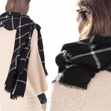 Lady Women Blanket Black White Plaid Cozy Tartan Checked Scarf Wraps Shawl