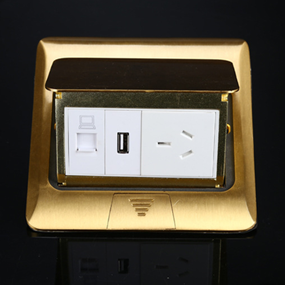 Manufacturer All Copper Panel Pop Up Floor Socket Internet Jack+ 1A USB Charge Port For Mobile + 16A 3 Pin Power Outlet