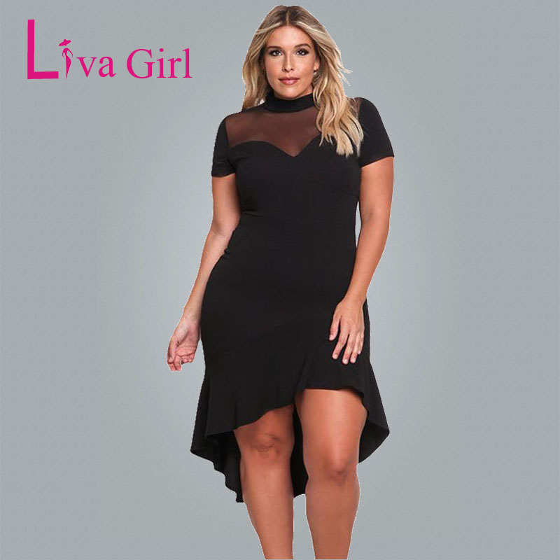 Liva Girl Black Plus Size Party Midi Dress For Women Fishtail Mesh Short Sleeve Big Large Size Dresses Sheath Sexy Vestidos XXXL