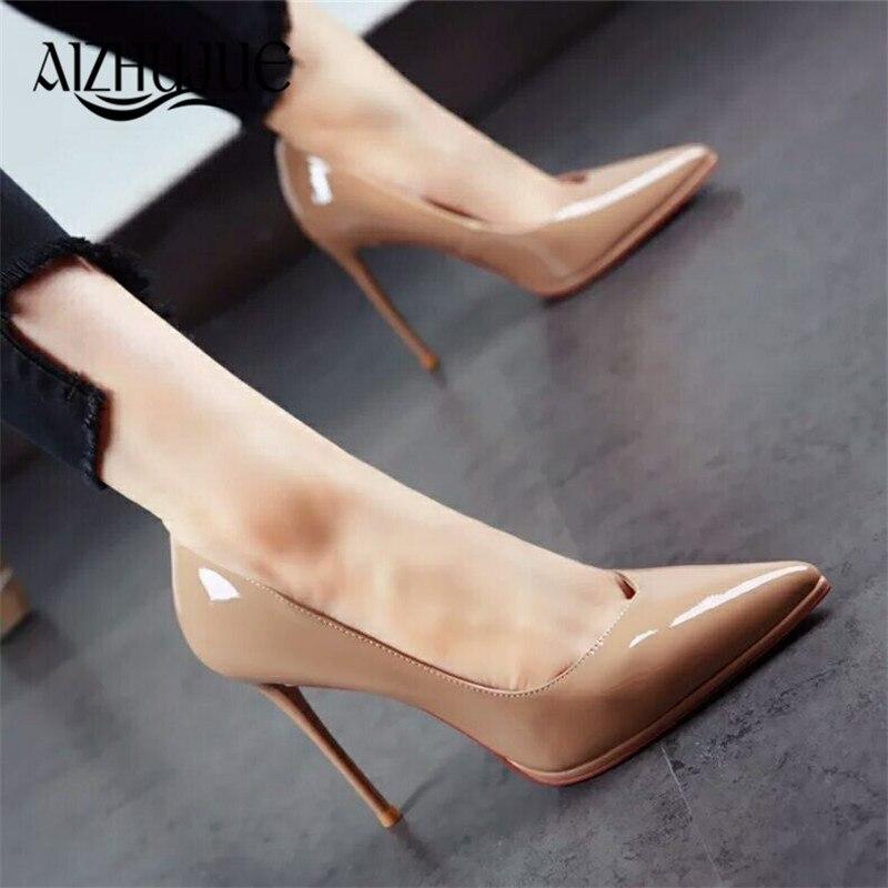 4531fb6d1 Comprar 2018 New Sexy de Salto Alto Plataforma de Couro de Patente Das  Mulheres Bombas Primavera Verão Senhora Elegante da Festa de Sapatos de  Todos Os ...