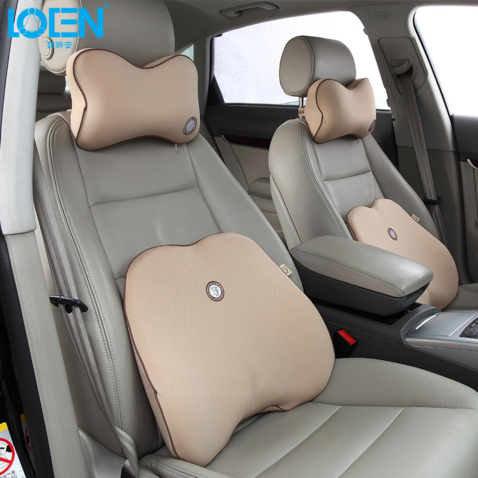 1 set high grade memory foam cotton car lumbar back support pillow cushion headrest neck pillow