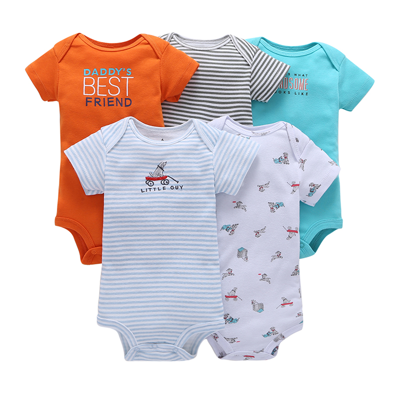 где купить 5 Pieces Baby Boy Clothes Set Short Sleeve Cotton Printed Sets Baby Boy Clothing Sets Whale Dog Car Truck Bear MKBCROBG034 дешево