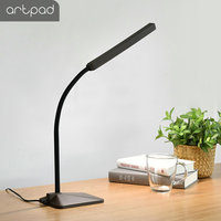 Artpad 8W Touch Dimmer LED Reading Desk Lamp for Bed Study Office 360 Degree Flexible Gooseneck Desktop Light White Black
