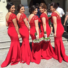 Vestido De Madrinha Red  2017  Sexy V-Neck Sleeveless Stylish Elegant Custom Made Party Dress Bridesmaid Dress Gown E5066